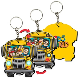 Lenticular Foam Key Chain With School Bus Shaped Yellow