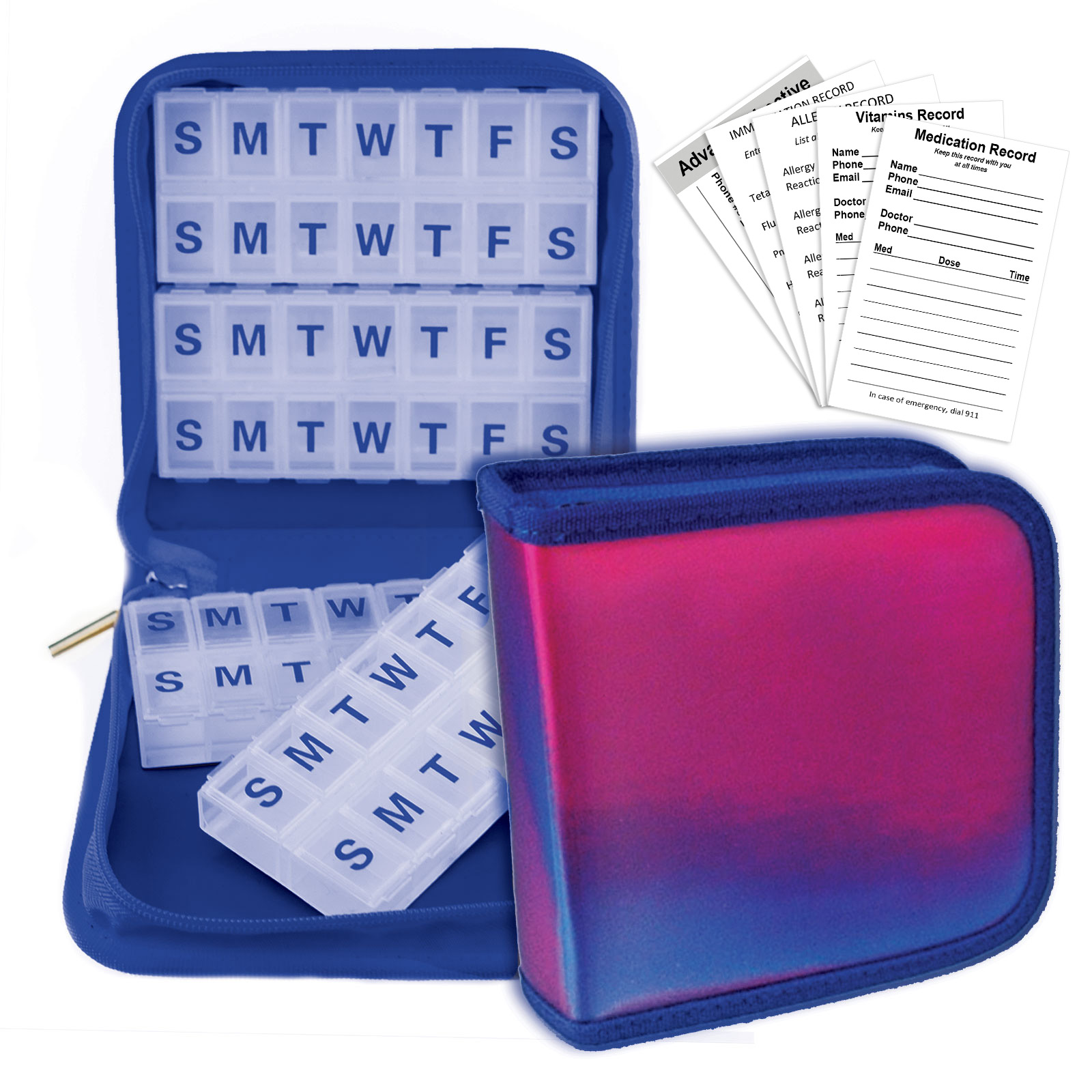 Purple Blue Pill Travel Organizer