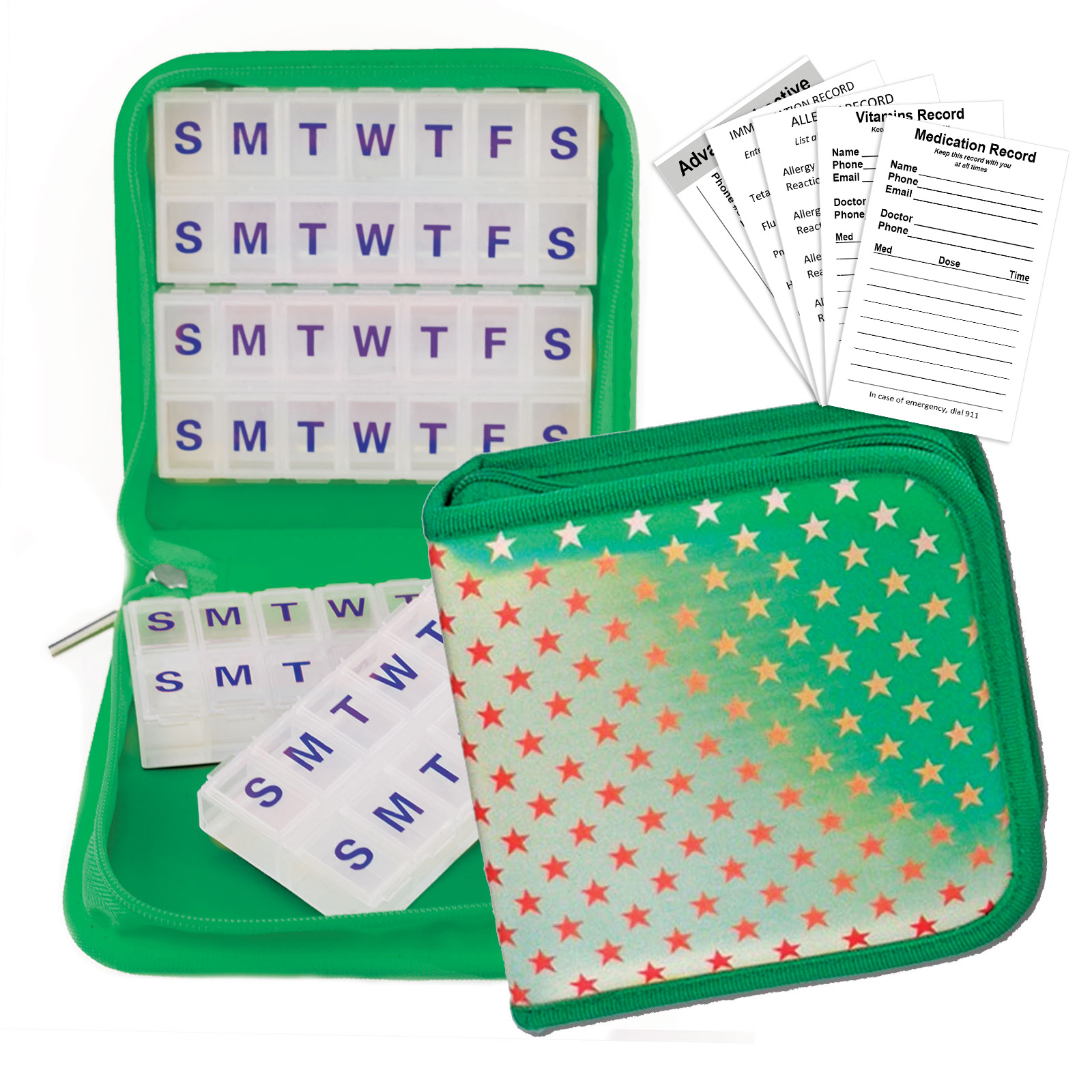 Green Case, Red Stars Pill Travel Organizer